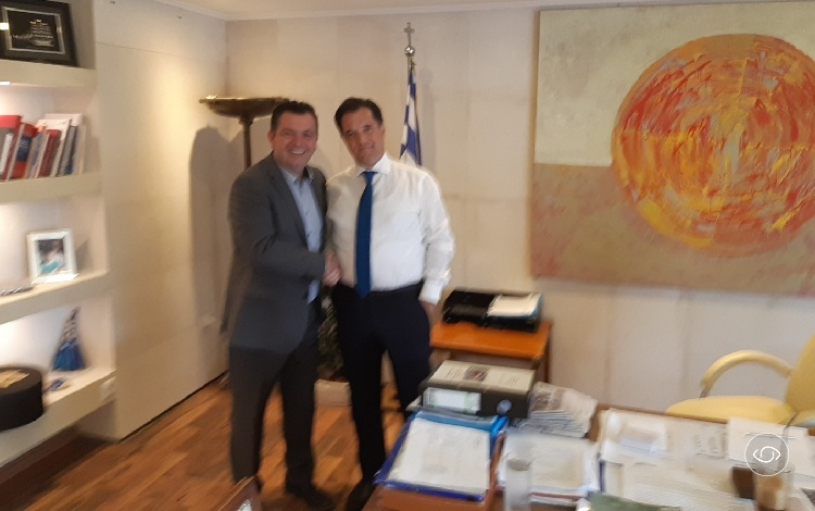 Ο Χρήστος Μπουκώρος στη συνάντηση με τον υπουργό Ανάπτυξης Αδωνι Γεωργιάδη