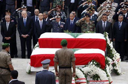 Ηλεκτρισμένη η ατμόσφαιρα στην κηδεία των θυμάτων της επίθεσης στη Βηρυτό