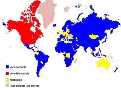 Ο χάρτης του κόσμου με βάση την ψηφοφορία για την Παλαιστίνη στον ΟΗΕ