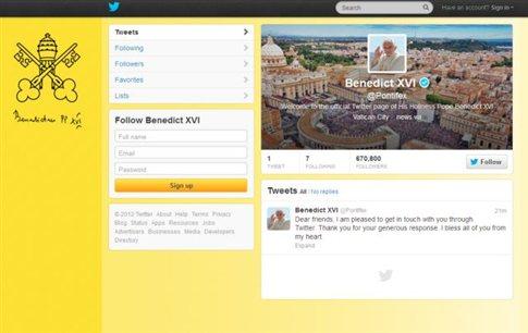 Τα πρώτα του μηνύματα στο Twitter έστειλε ο Πάπας
