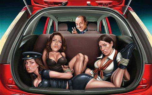 Αποσύρθηκε σεξιστική διαφήμιση με τον Μπερλουσκόνι και δεμένες γυναίκες