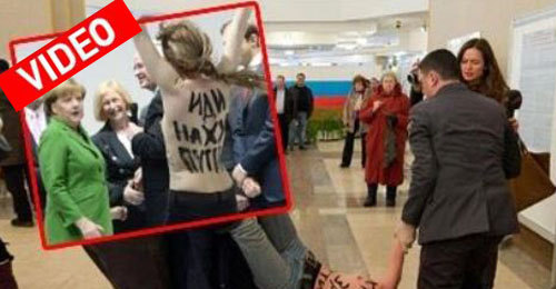 Οι γυμνόστηθες σόκαραν τους Πούτιν - Μέρκελ