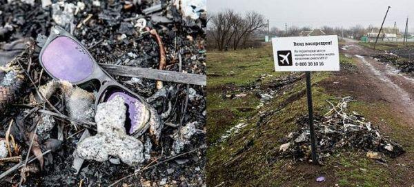 Πινακίδα-σοκ στο σημείο συντριβής του Boeing της Malaysia στην Ουκρανία