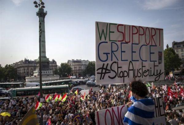 Συγκέντρωση ελλήνων στο Παρίσι για συμπαράσταση εναντίον στη λιτότητα