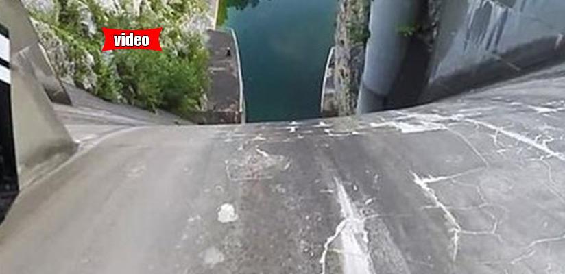 Ριψοκίνδυνος ποδηλάτης κατεβαίνει φράγμα 60 μέτρων