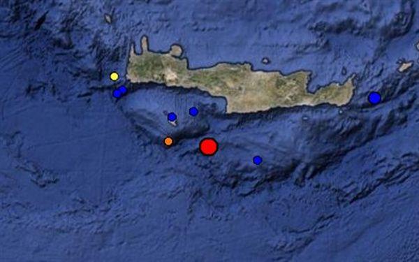 Σεισμός 4,4 βαθμών νότια της Κρήτης