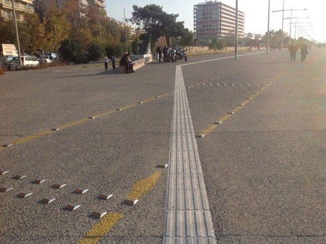 Θεσσαλονίκη: Η διαδρομή τυφλών περνάει μέσα από τον ποδηλατόδρομο