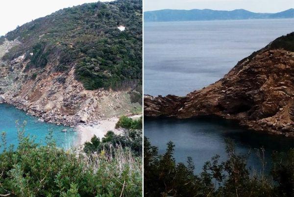 Κατολισθήσεις στην παραλία Βαθιάς Σκοπέλου