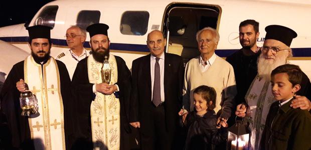 Αεροπορικώς από τα Ιεροσόλυμα μέσω Αθήνας το Άγιο Φως στη Σκιάθο