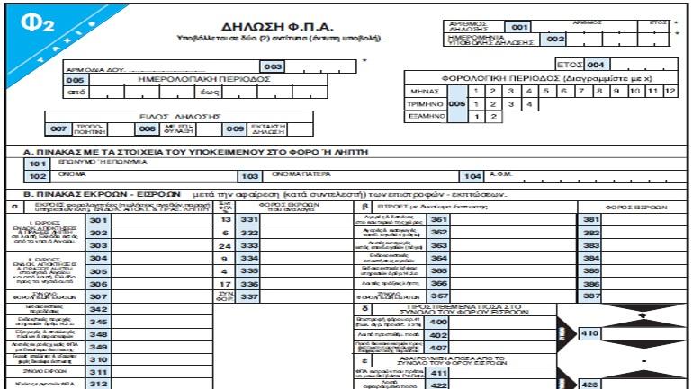 Tο νέο έντυπο της δήλωσης ΦΠΑ