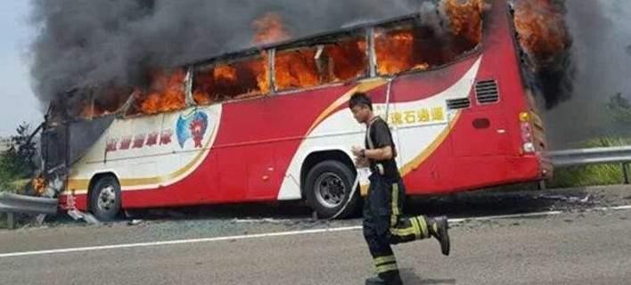 Τραγωδία στην Ταϊβάν. Τουλάχιστον 26 νεκροί από φωτιά σε τουριστικό λεωφορείο