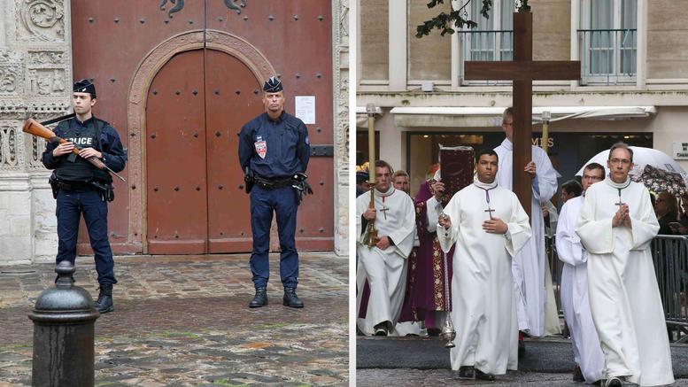 Με πάνοπλους φρουρούς η κηδεία του ιερέα στη Νορμανδία