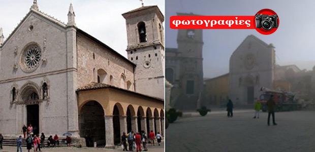 Η εκκλησία του Αγίου Βενέδικτου πριν και μετά το «χτύπημα» του Εγκέλαδου