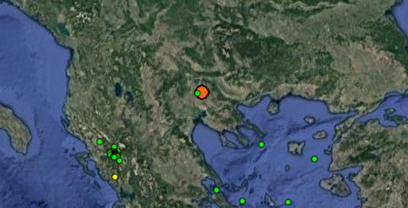 Σεισμική δόνηση 4,8R βορειοδυτικά του Κιλκίς