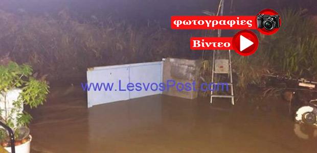 Θεομηνία στη Λέσβο: Χαλάζι στη Μυτιλήνη – Πλημμύρισαν σπίτια