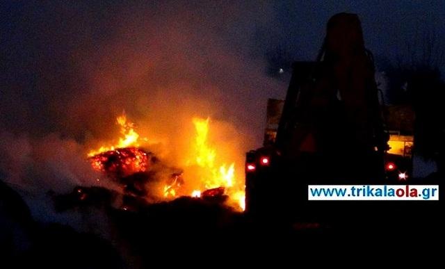 Στις φλόγες κτηνοτροφική μονάδα στα Τρίκαλα