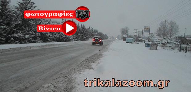 Ο χιονιάς «Βίκτωρ» χτύπησε τα Τρίκαλα -Πυκνό χιόνι αυτή την ώρα