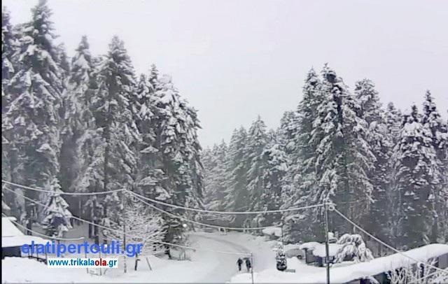 Ξύπνησαν με ισχυρή χιονόπτωση στα ορεινά των Τρικάλων