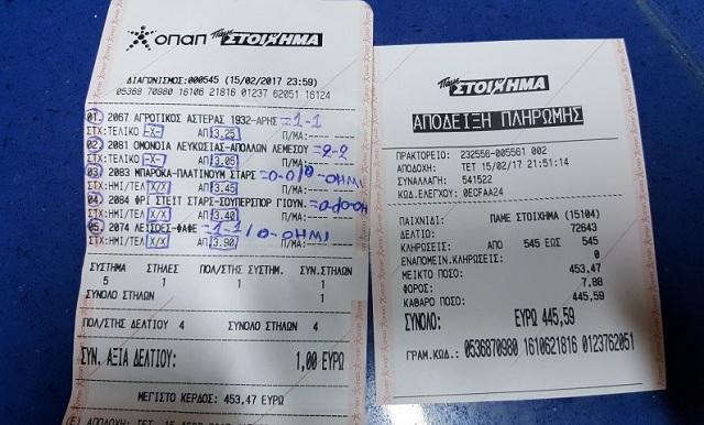 «Γκουρού» του Στοιχήματος Τρικαλινός. Με 1 € πήρε… 453 €!