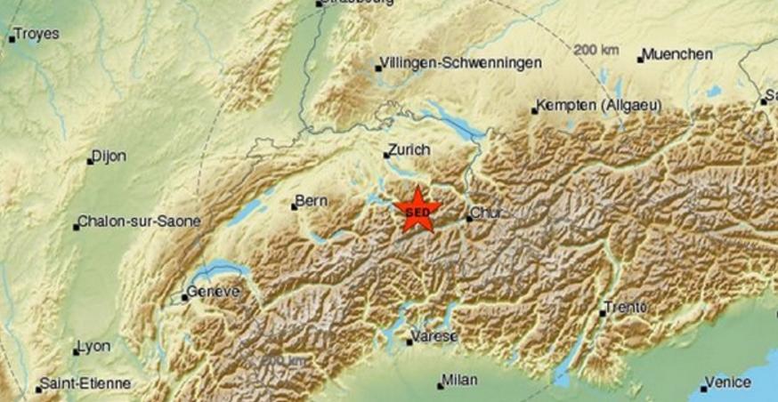 Σεισμός 4,6 R στα σύνορα Ελβετίας-Ιταλίας