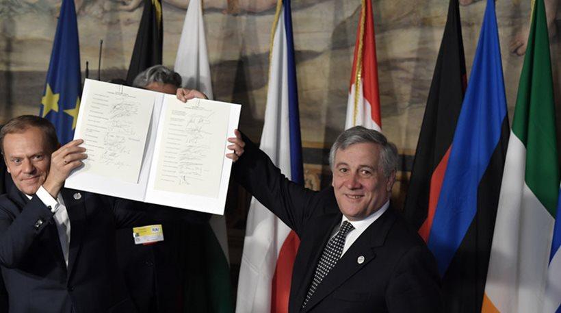 Επετειακή Σύνοδος Κορυφής της ΕE: Οι «27» υπέγραψαν τη Διακήρυξη της Ρώμης