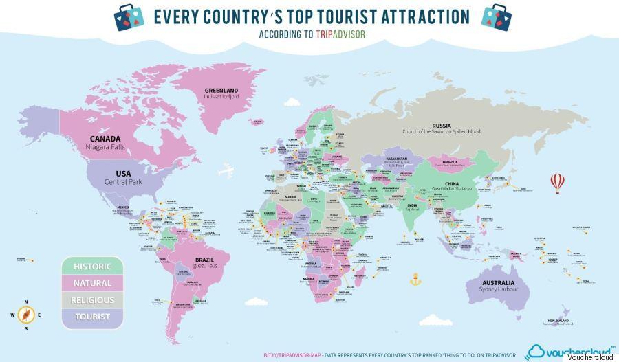 Ποιο είναι το ένα πράγμα που πρέπει να δει οπωσδήποτε κάποιος σε κάθε χώρα; Η απάντηση σε έναν χάρτη