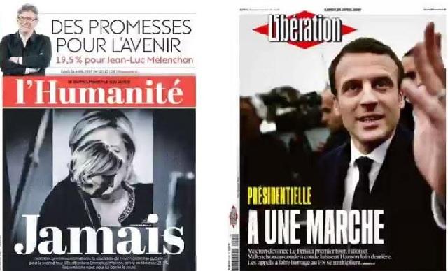 Ο γαλλικός Τύπος χαιρετίζει τη νίκη Μακρόν και φωνάζει «ποτέ» στη Λεπέν