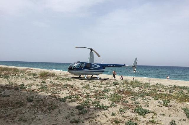 Ελικόπτερο προσγειώθηκε σε παραλία του Πηλίου!