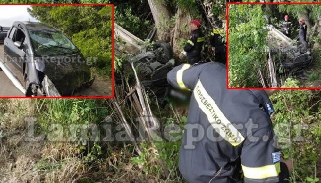 Αυτοκίνητο εξετράπη της πορείας του και έπεσε σε πλαγιά