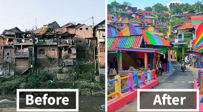Ινδονησία: Παραγκούπολη μεταμορφώθηκε σε πολύχρωμο χωριό [εικόνες]