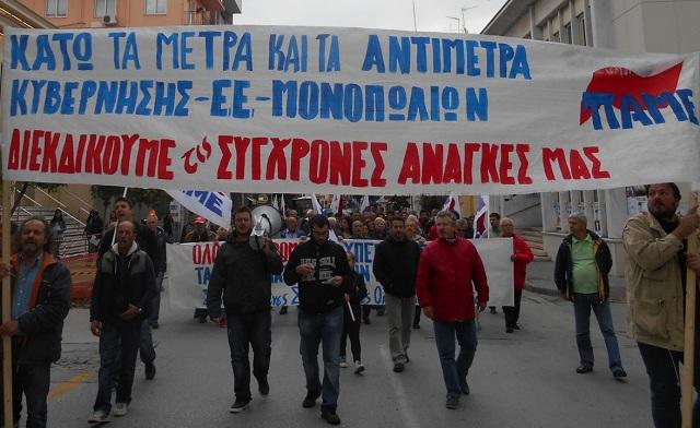Για δεύτερη μέρα το ΠΑΜΕ στους δρόμους του Βόλου κατά του νέου μνημονίου