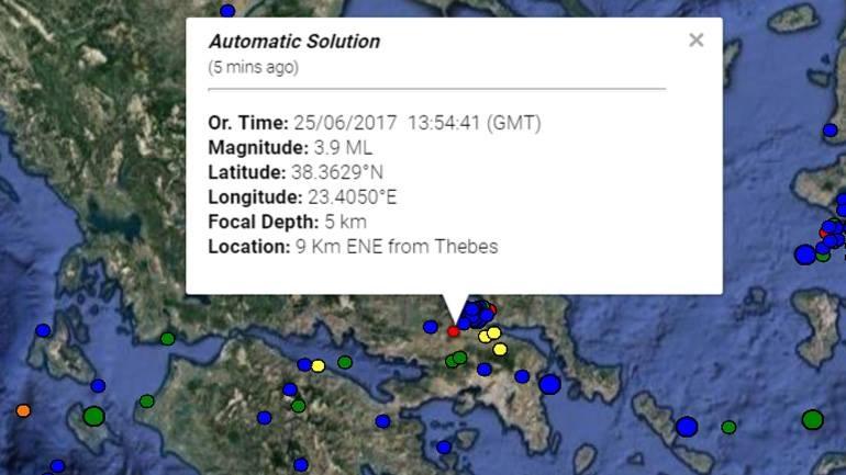 Σεισμική δόνηση μεγέθους 3,9 Ρίχτερ με επίκεντρο τη Θήβα έγινε αισθητή στην Αθήνα