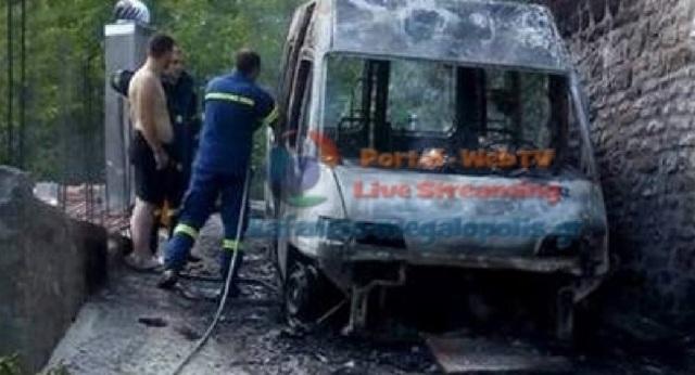 Κάηκε ολοσχερώς το μοναδικό ασθενοφόρο στη Μεγαλόπολη