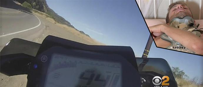 """Μοτοσικλετιστής κατέγραψε τη """"βουτιά"""" του σε γκρεμό 76 μέτρων! (βίντεο)"""
