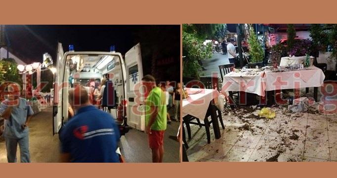 «Γουρούνα» χωρίς οδηγό εισέβαλε σε ταβέρνα. Τρεις τραυματίες