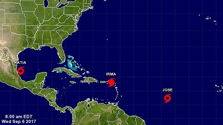 Η τροπική καταιγίδα Χοσέ και η τροπική καταιγίδα Κάτια ενισχύθηκαν σε κυκλώνες