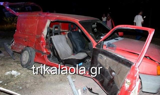 Δυο τραυματίες από πλαγιομετωπική σύγκρουση νταλίκας με Ι.Χ. στα Τρίκαλα