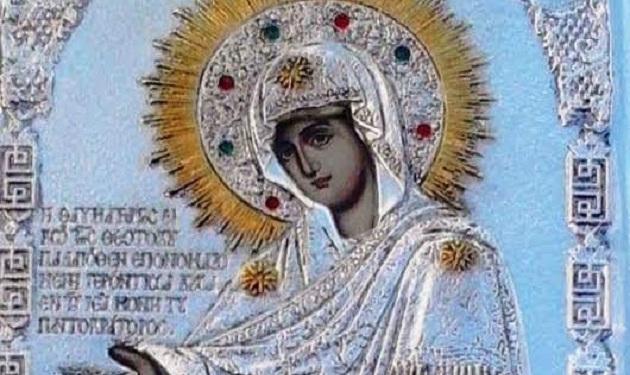 Η εικόνας της Παναγίας Γερόντισσας στον Ναό Αγίας Βαρβάρας Ν. Ιωνίας