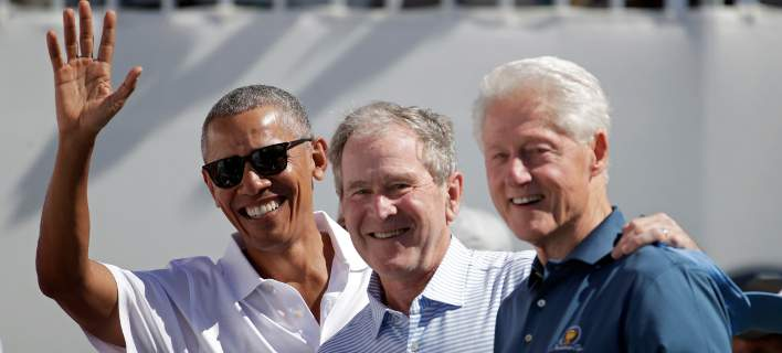 Τρεις πρώην πλανητάρχες μαζί: Εξοδος Κλίντον, Μπους και Ομπάμα για γκολφ [εικόνα]