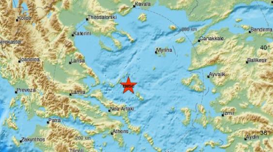 Ισχυρός σεισμός κοντά στη Σκύρο αισθητός στον Βόλο