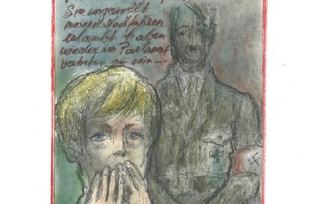 Καυστικό σκίτσο του Λάγκερφελντ: Ο Χίτλερ ευχαριστεί τη Μέρκελ για την άνοδο των ακροδεξιών