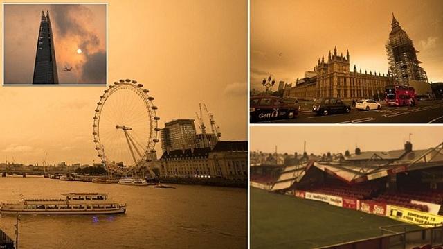 Χάλκινος ο ουρανός του Λονδίνου λόγω της καταιγίδας «Οφηλία» [εικόνες-βίντεο]