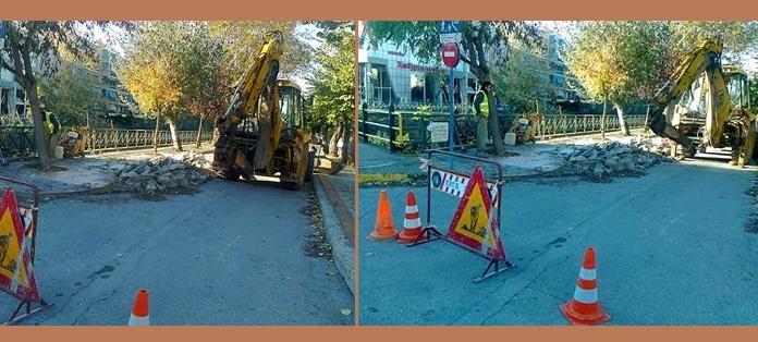 «Ξηλώνονται» τα πεζοδρόμια στην Καραμπατζάκη. Ενταση και τραυματισμοί