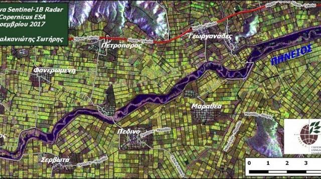 Καταγραφή από δορυφόρο των πλημμυρισμένων εκτάσεων στα Τρίκαλα