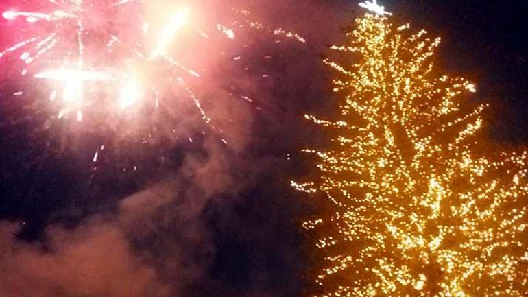 Τρίκαλα: Φωταγωγήθηκε το ψηλότερο φυσικό Χριστουγεννιάτικο δέντρο στην Ελλάδα