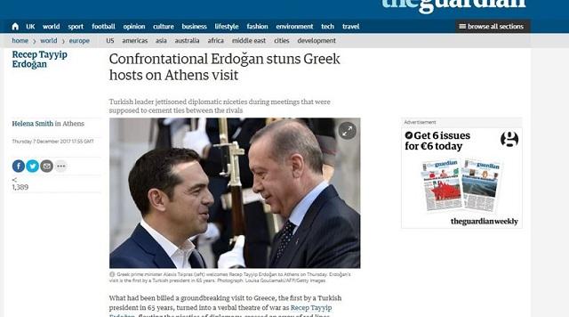 Guardian: Ο Ερντογάν σόκαρε τους Έλληνες οικοδεσπότες του