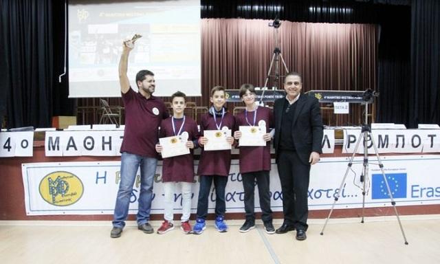 Χρυσό μετάλλιο στις ομάδες ρομποτικής του 8ου Γυμνασίου