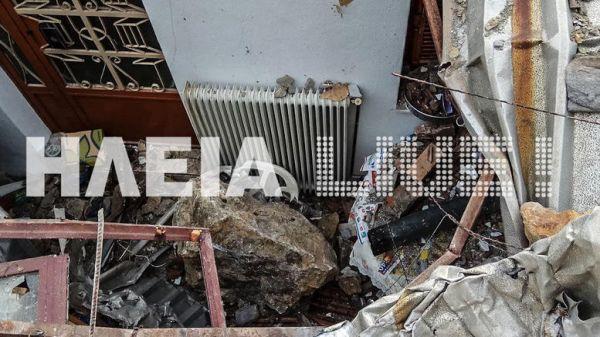 Εικόνες σοκ στο Λέπρεο: Βράχοι διέλυσαν σπίτι, μόλις είχε φύγει η οικογένεια