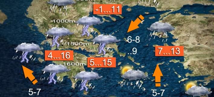 Καλλιάνος: Ραγδαία επιδείνωση του καιρού, με καταιγίδες. Κίνδυνος πλημμυρών [χάρτες με τα φαινόμενα]