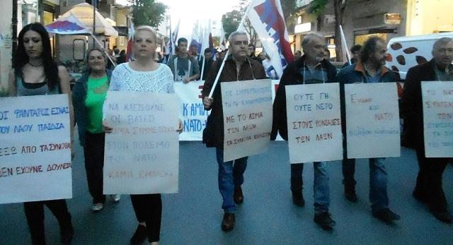 Μαζική συγκέντρωση και πορεία στον Βόλο κατά της επίθεσης στη Συρία
